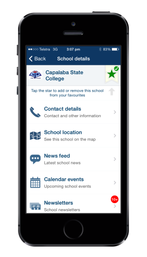 QSchools as viewed on a mobile phone