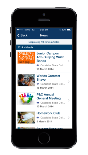 News via QSchools as viewed on a mobile phone